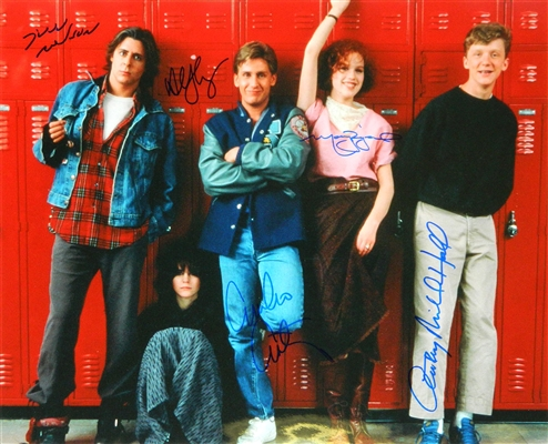 The Breakfast Club Cast Signed The Breakfast Club Cast In Front Of Lockers 16x20 Photo (Estevez, Ringwald, Nelson, Hall, Sheedy)
