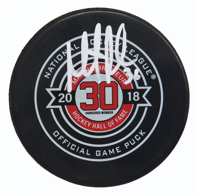 Martin Brodeur Signed 2018 Martin Brodeur Hall of Fame Logo Official Hockey Puck