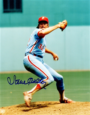 Steve Carlton Signed Philadelphia Phillies Pitching Action 8x10 Photo