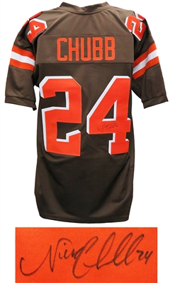 Nick Chubb Signed Brown Custom Football Jersey