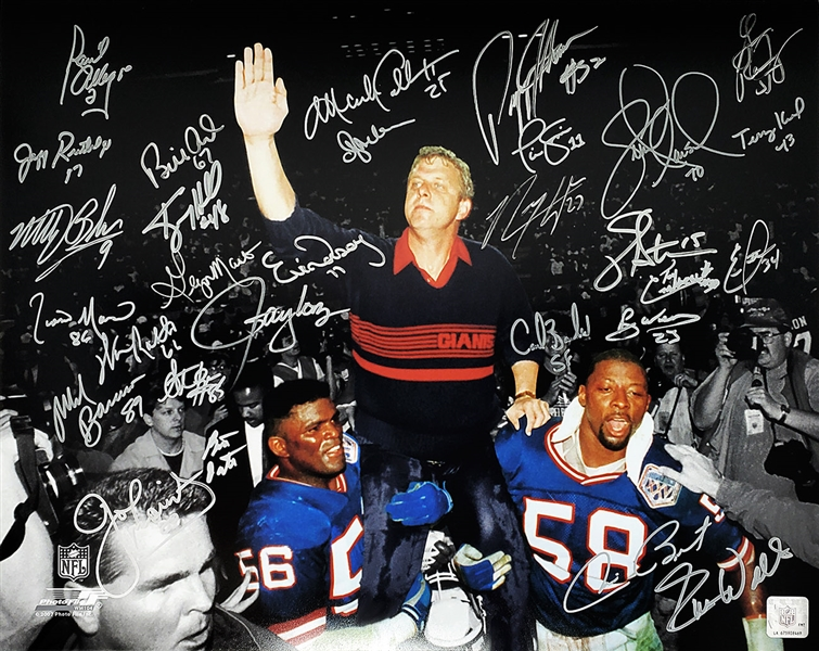 New York Giants Super Bowl XXI / XXV Team Signed Bill Parcells Carried Off Field Spotlight 16x20 Photo (29 Sigs)