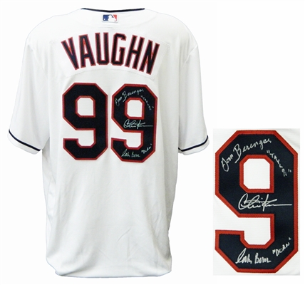 Charlie Sheen, Tom Berenger & Corbin Bernsen Signed Cleveland Indians White Majestic Replica Jersey w/Taylor, Dorn