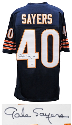 Chicago Bears Gale Sayers Signed Navy Custom Football Jersey (Beckett)