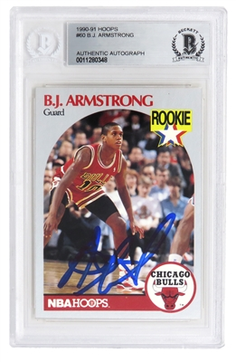 B.J. Armstrong Signed Chicago Bulls 1990-91 Hoops Basketball Rookie Card #60 - (Beckett Encapsulated)