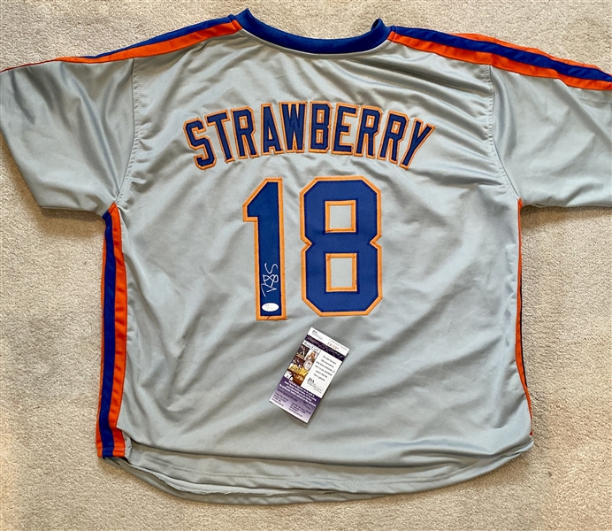 New York Mets Darryl Strawberry Signed Away Jersey PSA Cert