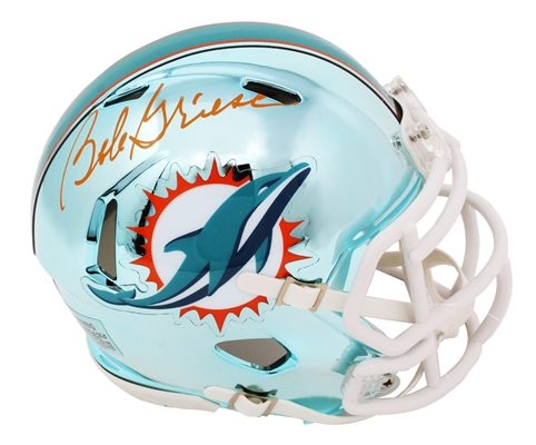 Bob Griese Signed Miami Dolphins Chrome Riddell Speed Mini Helmet