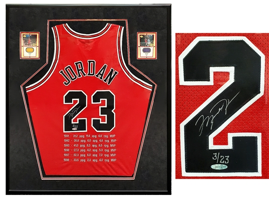 Michael Jordan Signed & Framed Chicago Bulls Red Jersey With Embroidered MVP Stats LE#3/23 (UDA)