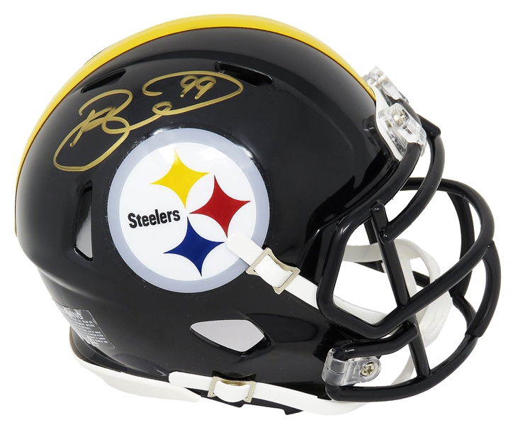 Brett Keisel Signed Pittsburgh Steelers Riddell Speed Mini Helmet