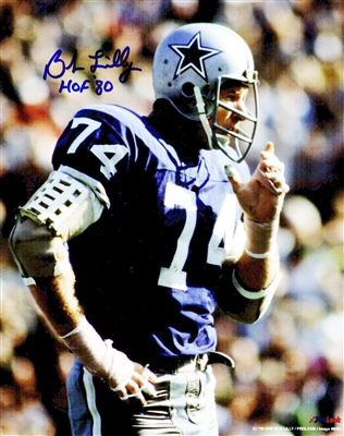 Bob Lilly Signed Dallas Cowboys Blue Jersey Close Up 8x10 Photo w/HOF80