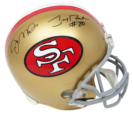Joe Montana & Jerry Rice Dual Signed San Francisco 49ers Throwback Riddell Full Size Replica Helmet