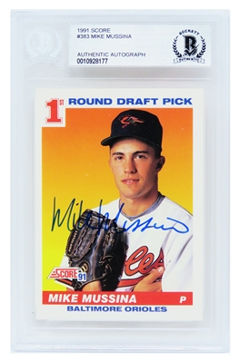 Mike Mussina Signed Baltimore Orioles 1991 Score Rookie Baseball Card #383 - (Beckett Encapsulated)
