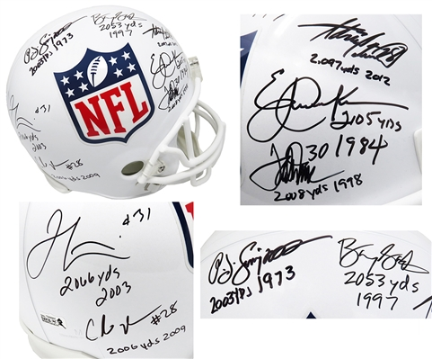 2,000 Yard Rushing Club Signed NFL Shield Riddell Full Size Replica Helmet w/7 Signatures & Yard Totals
