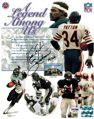 Walter Payton Signed Bears Legend Among Us Collage 8x10 Photo w/Sweetness & 16,726