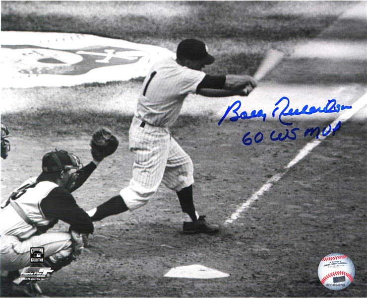 Bobby Richardson Signed New York Yankees Batting B&W 8x10 Photo w/60 WS MVP
