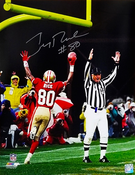 Jerry Rice Signed San Francisco 49ers TD Arms Raised Celebration 16x20 Photo