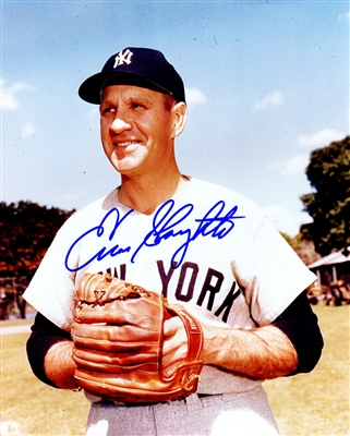 Enos Slaughter Signed New York Yankees Pose 8x10 Photo