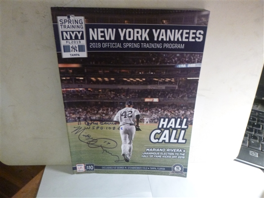 2019 New York Yankees Program Signed By Mickey Rivers & Don Larsen