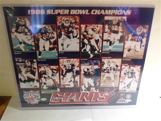 New York Giants 1986 Super Bowl 8x10 Photo Signed By Jerome Sally & Carl Banks - AAC Hologram