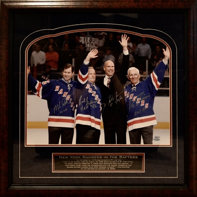 New York Rangers 16x20 Photo Signed By Mark Messier, Mike Richter, Rod Gilbert, Eddie Giacomin