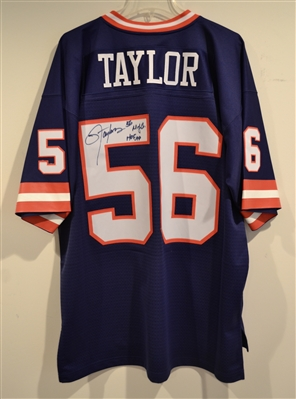 New York Giants Lawrence Taylor Signed Blue Mitchell & Ness Jersey With Inscriptions