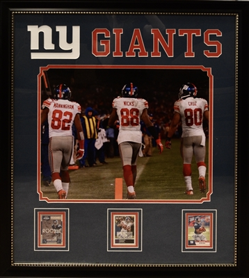 New York Giants Card Collage Signed By Mario Manningham, Victor Cruz, Hakeem Nicks Framed