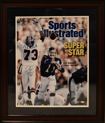 New York Giants Phil Simms Signed 16x20 SI Photo Framed