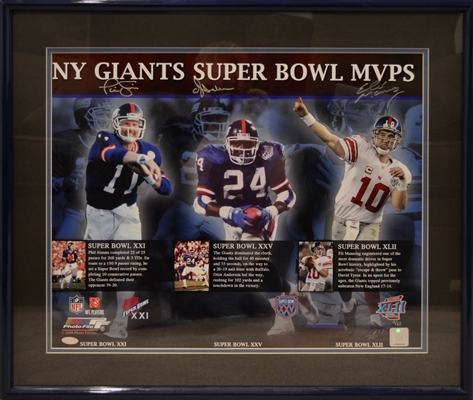 New York Giants Super Bowl MVPS Signed By Phil Simms,Otis Anderson, Eli Manning Limited Edition 11/27 Collage Framed