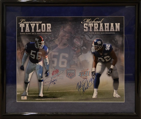 New York Giants Micheal Strahan & Lawrence Taylor Dual Signed Photo Framed