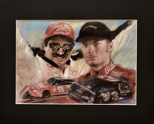 Nascar Greats Dale Earnhardt Sr & Jr Unsigned Print Matted