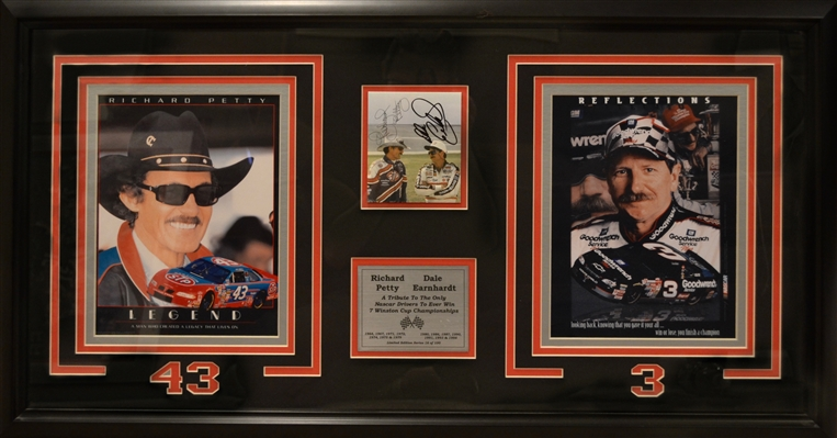 Nascar Richard Petty & Dale Earnhardt Dual Signed Collage Framed