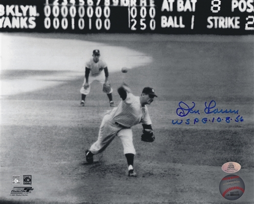 New York Yankees Pitcher Don Larsen Signed B/W 8x10 Scoreboard Photo With Inscription WS PG 10-8-56