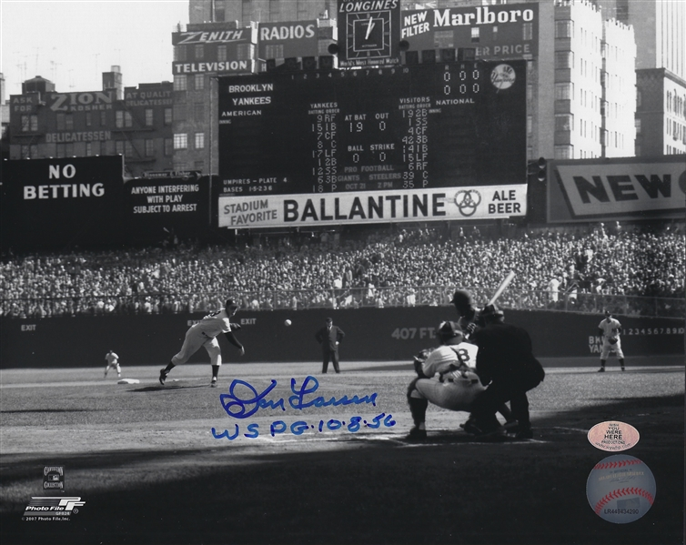 New York Yankees Don Larsen Signed B/W 8x10 Ballantine Photo With WS PG 10-8-56 Inscription