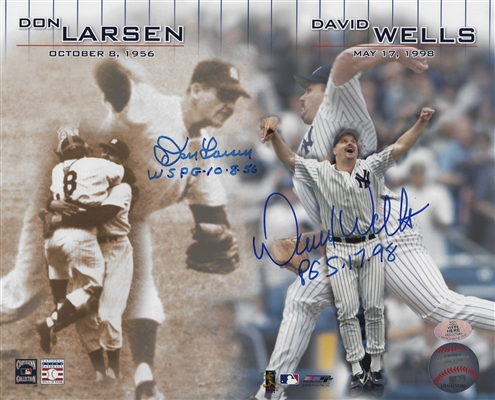 New York Yankees 8x10 Photo Dual Signed By Don Larsen WS PG 10-8-56 & David Wells PG 5-17-98