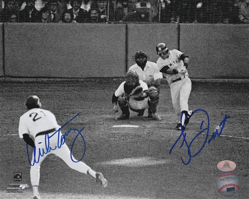 New York Yankees Bucky Dent & Mike Torrez Dual Signed B/W 8x10 Famous Homerun Photo