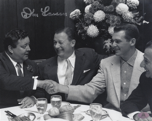 New York Yankees Don Larsen Signed B/W Photo - Sitting With His Agent & Jackie Gleason At The Then Famous Restaurant Called Toot Shors In New York City