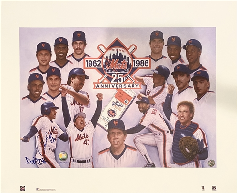 New York Mets Lithograph Unsigned 25th Anniversary 1986 - Great Item To Get Signed