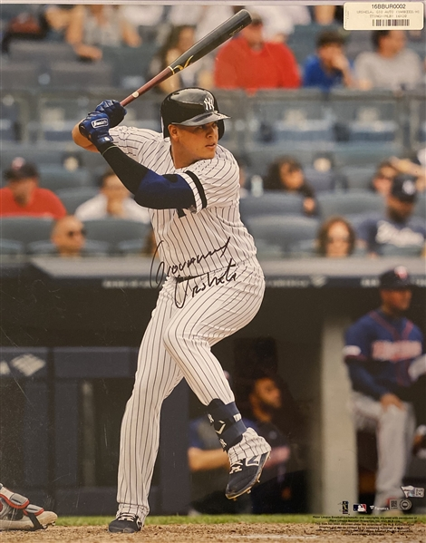New York Yankees Gio Urshela Signed 16x20 Photo to benefit the NEVER BACK DOWN Foundation