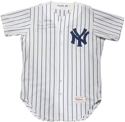 Mickey Mantle Signed Game Used Worn 1986 Yankees Old Timers Day Jersey.