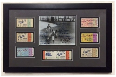 1956 WS Champs Yankees Team Signed Framed Photo & 7 Original Tickets, Mantle JSA