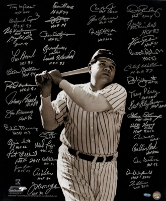 Baseball Greats Multi Signed/Inscribed Vertical 20x24 Photo of Babe Ruth Batting (41 Sigs)