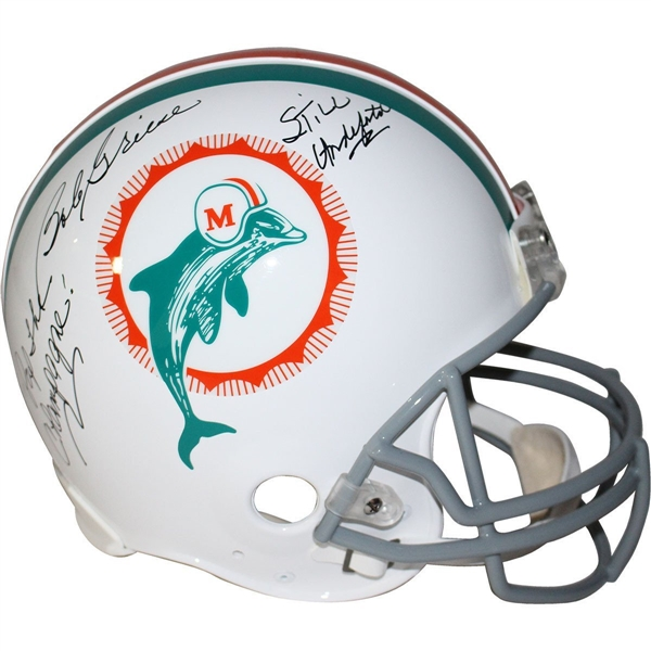 Bob Griese Signed Miami Dolphins Proline Throwback Dolphins 1972 Helmet w/ Pop the Champagne, Still Undefeated Insc