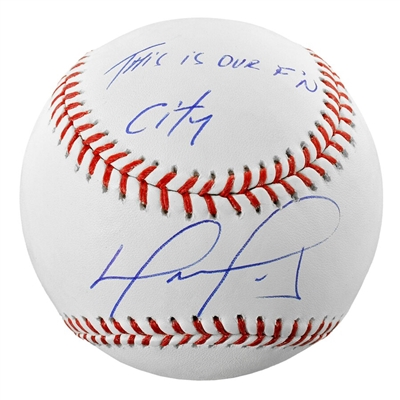 "David Ortiz Boston Red Sox Autographed Baseball with ""This Is Our FN City"" Inscription"