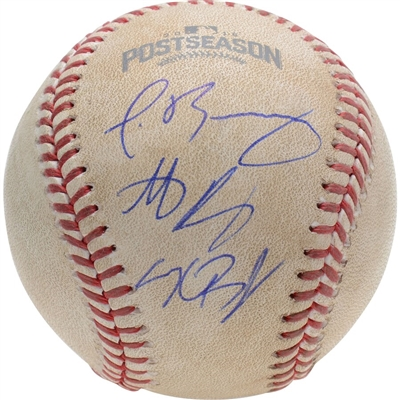 Kris Bryant, Anthony Rizzo and Javier Baez Chicago Cubs Autographed Game-Used 2016 NLCS Baseball