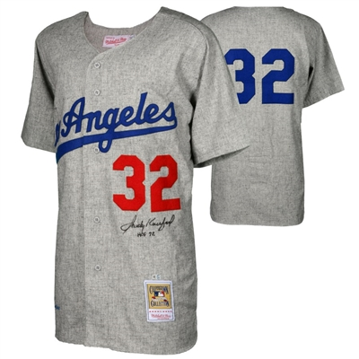 "Sandy Koufax Los Angeles Dodgers Autographed Mitchell and Ness 1963 Gray Authentic Jersey with ""HOF 72"" Inscription"