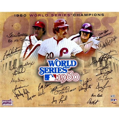 "1980 Philadelphia Phillies Autographed 16"" x 20"" World Series Collage Photograph with 24 Signatures and Multiple Inscriptions"