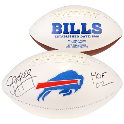 "Jim Kelly Buffalo Bills Autographed White Panel Football with ""HOF 02"" Inscription"