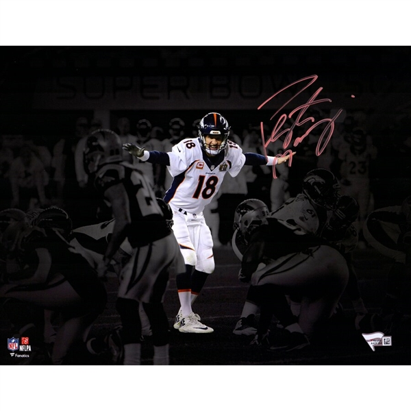 Peyton Manning Denver Broncos Autographed 11' x 14 Super Bowl 50 Spotlight at The Line Photograph