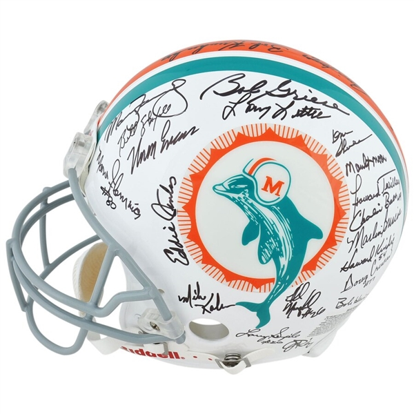 Miami Dolphins Autographed 40th Anniversary 1972 Team Riddell Pro-Line Helmet