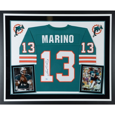 Dan Marino Miami Dolphins Deluxe Framed Autographed Mitchell & Ness Teal Replica Jersey