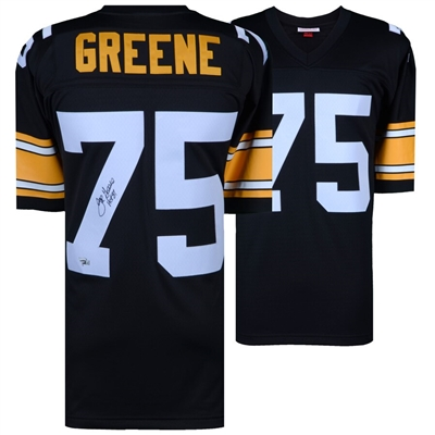 "Joe Greene Pittsburgh Steelers Autographed Mitchell & Ness Black Replica Jersey with ""HOF 87"" Inscription"